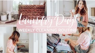 ULTIMATE CLEAN WITH ME | LAUNDRY DAY! | My Monday Weekly Cleaning Routine | Justine Marie