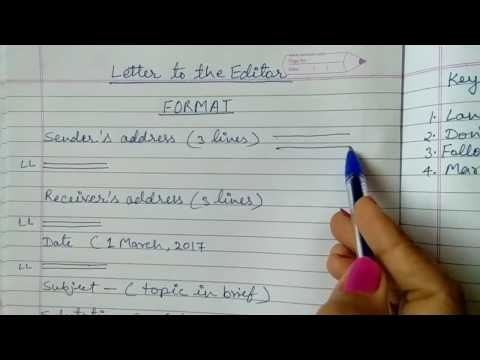 Letter To The Editor For Class 10 & 12 CBSE - Part 1 ( Format Of Formal Letter)