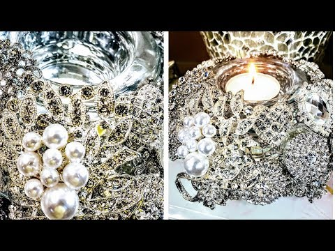 Dollar Tree Luxurious Brooch Candle Holder Centerpiece