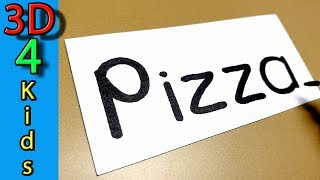 Turn word into cartoon funny drawing very easy ! PIZZA wordtoon #92