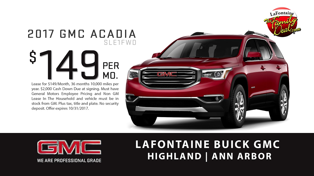 lafontaine buick gmc of ann arbor 2017 gmc acadia 149 per month youtube. Black Bedroom Furniture Sets. Home Design Ideas
