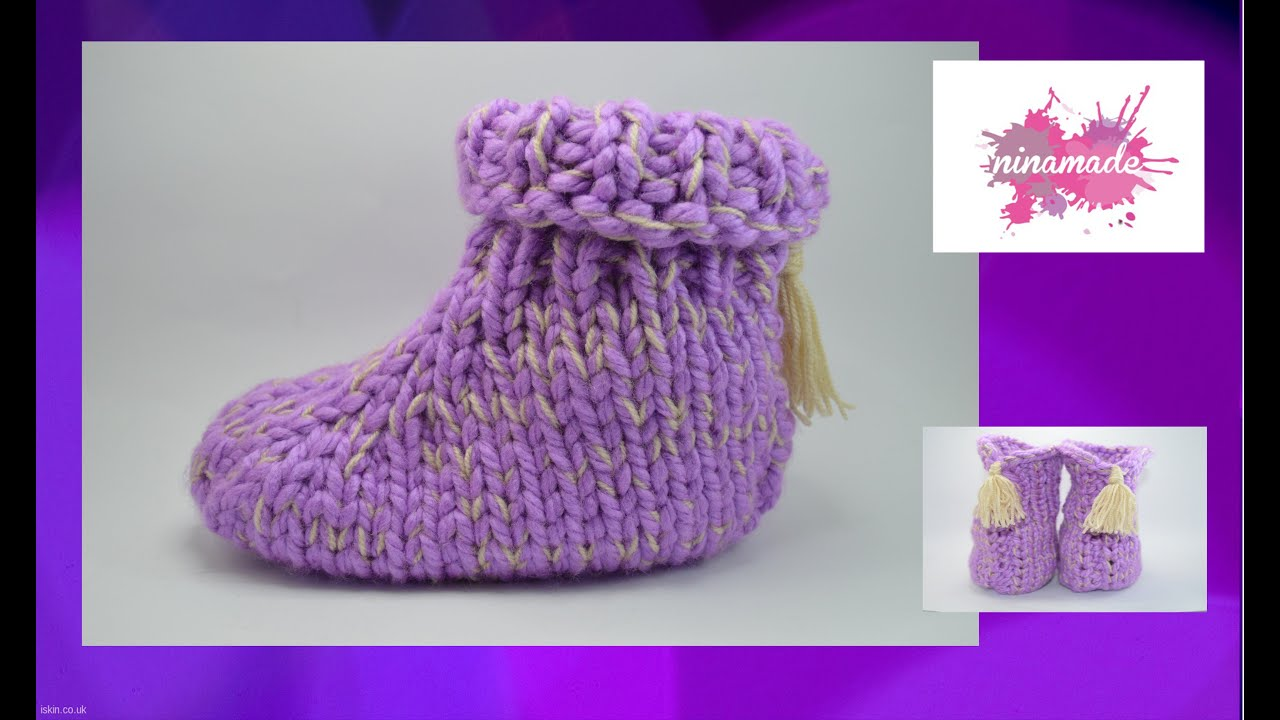 DIY. Comment tricoter des chaussons avec deux aiguilles //How to knit slippers with two needles ...