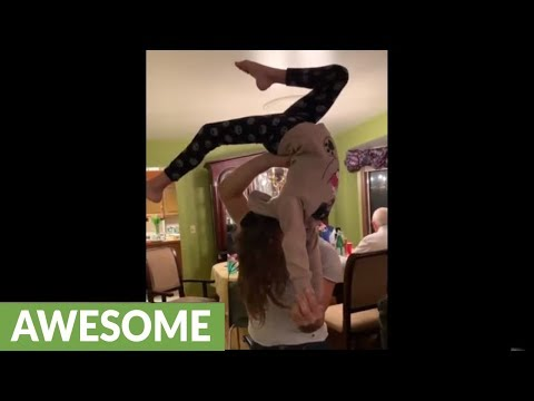 Little girl learns amazing gymnastic move in minutes!