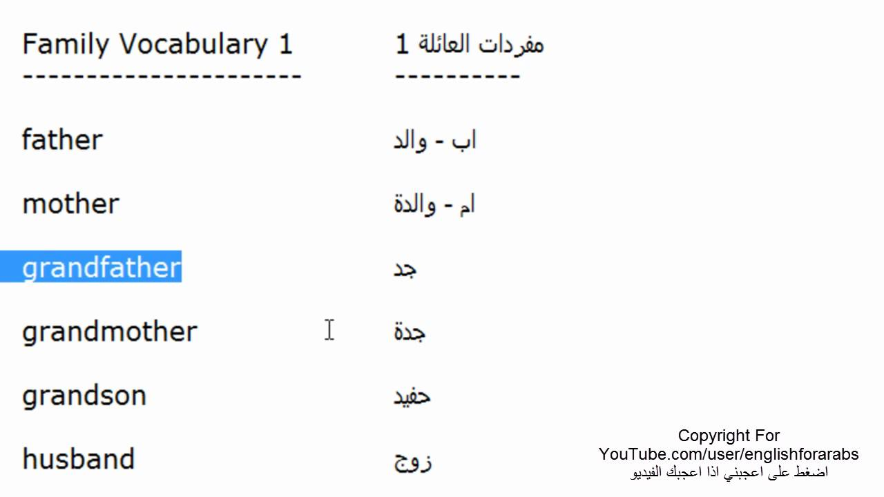 تعلم الانجليزية مفردات العائلة الجزء 1 - متحدث انجليزي ...: https://www.youtube.com/watch?v=GuUsJ4Ct7B4