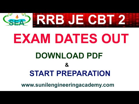 RRB JE CBT 2 EXAMS DATES OUT /RRB JE CBT2 ELECTRICAL PDF/RRB JE CBT2 ELECTRONICS PDF