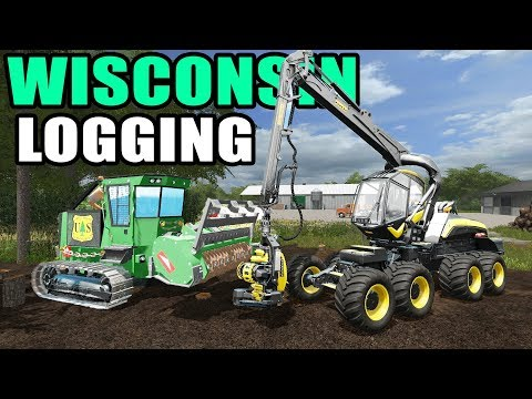 FARMING SIMULATOR 2017 | GRINDING STUMPS & LOADING THE BOARDS ON THE TRAILER | WISCONSIN MAP EP #5