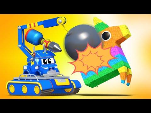 儿童动画- 拆卸起重机砸碎皮纳塔 - Cartoons