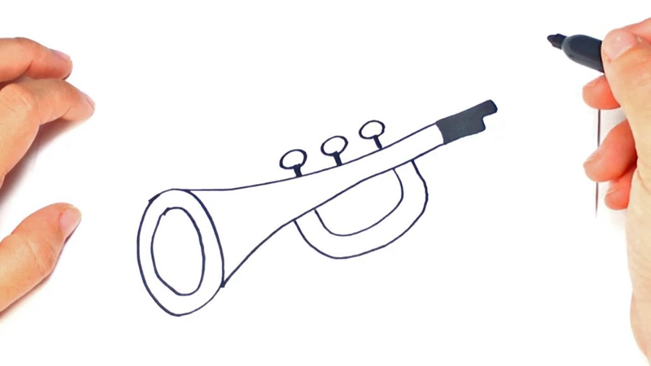 Uncategorized How To Draw A Trumpet how to draw a trumpet for kids easy tutorial youtube tutorial