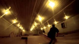 skate park in a barn