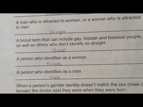 Mother upset about sexual 'identify definitions' quiz at school