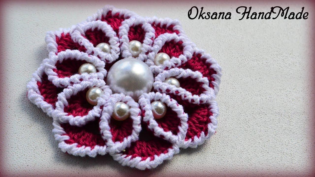 цветок крючком с бусинами мастер класс Flower With Beads Diy Youtube