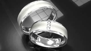 Свадебные кольца из белого матового и глянцевого золота
