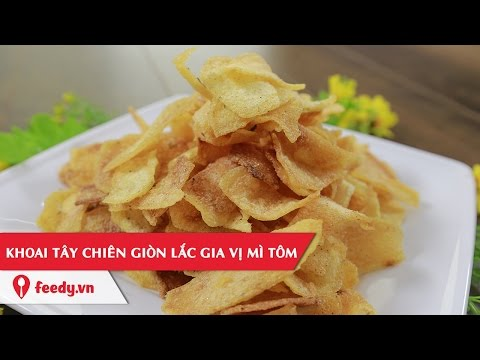 Hướng dẫn làm món khoai tây chiên giòn lắc gia vị mì tôm - Potato Chips