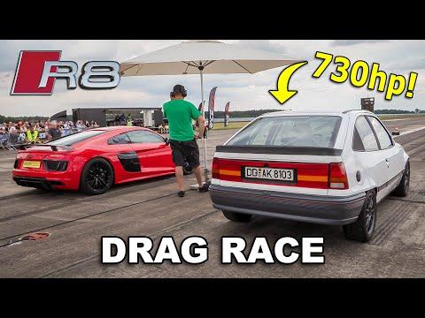 730HP Opel Kadett (Supercar Killer?) vs Audi R8 V10 Plus & Mercedes AMG GTR Pro