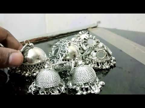 New Silver oxidised jhumka earrings designs   traditional jhumka collection