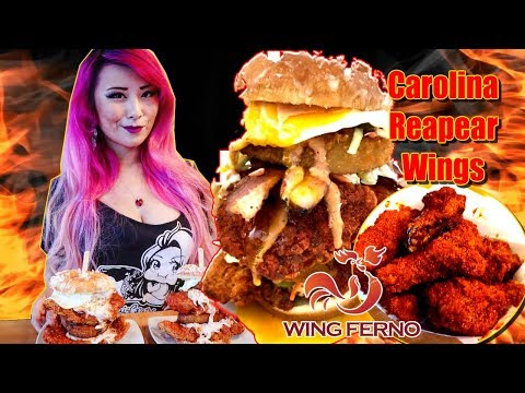 Super Sandy Eating Challenge + Carolina Reaper & Trinidad Scorpion Spicy Wings Challenge