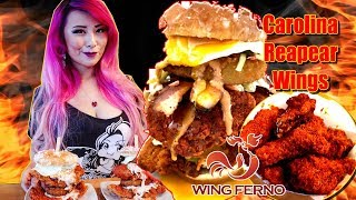 Super Sandy Eating Challenge + Carolina Reaper & Trinidad Scorpion Spicy Wings Challenge