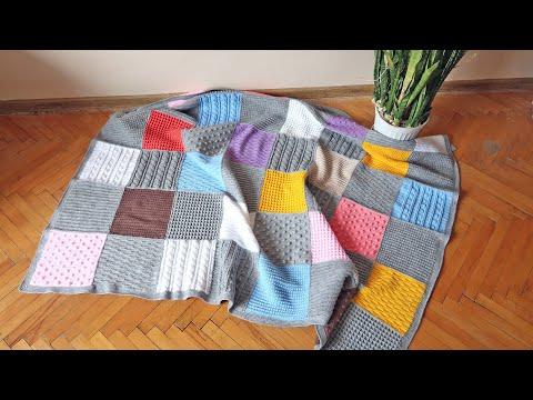 Вязаное одеяло из квадратов спицами