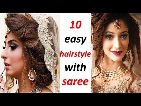 10 amazing hairstyle with saree || hairstyle for wedding || party hairstyle || trending hairstyle thumbnail