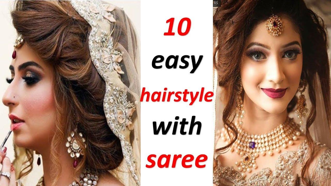 10 Amazing Hairstyle With Saree Hairstyle For Wedding Party Hairstyle Trending Hairstyle Youtube