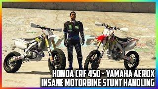 GTA 5 MODS - INSANE STUNT HANDLING FOR MOTORBIKES - HONDA CRF450, YAMAHA AEROX (GTA V PC MODS)