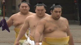 Sumo Jepang Hentakkan Kaki di Kuil Jepang