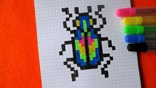 Жук Как нарисовать простой рисунок жука по клеточкам в тетради Пиксель Арт