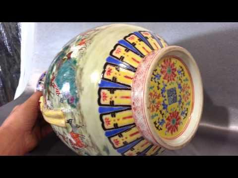 Antique China Handled Famile Rose Qianlong Vase