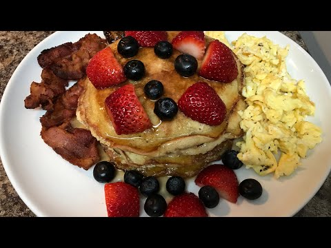EASY & DELICIOUS BREAKFAST RECIPE|FLUFFY PANCAKES| QUICK AMERICAN BREAKFAST FOR BEGINNERS     🥞🥓🍳