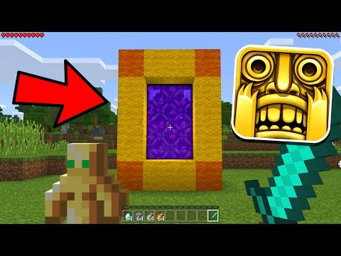 HOW TO MAKE A PORTAL TO THE TEMPLE RUN DIMENSION - MINECRAFT POCKET EDITION TEMPLE RUN