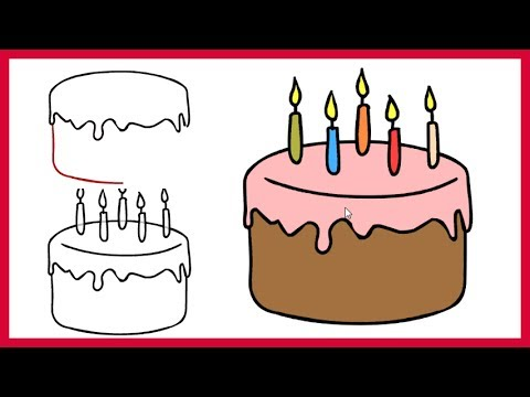 How To Draw A Birthday Cake Easy Step By Step For Kids And Beginner Youtube