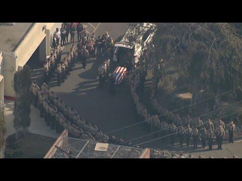 Procession Escorts Casket Of Fallen L.A. County Sheriff's Detective  To Mortuary I ABC7