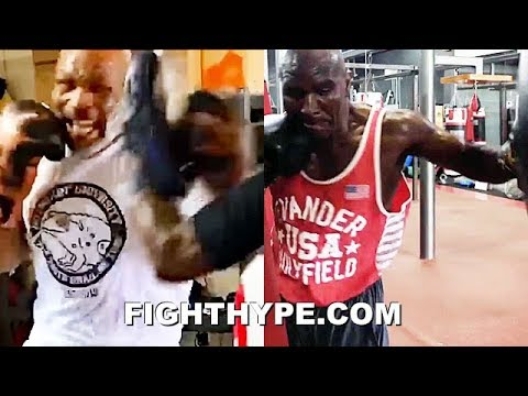 """MIKE TYSON VS. EVANDER HOLYFIELD 3 AT AGES 53 & 57; SIDE-BY-SIDE """"I'M BACK"""" TRAINING COMPARISON"""