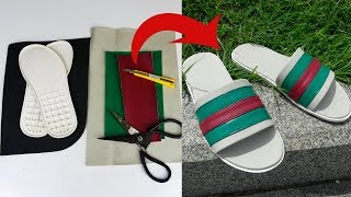 DIY Gucci Slipper at Home - How to Make Sandals Slide Step by Step