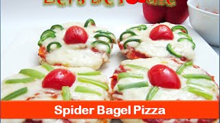 Mini Pizza Recipe/spider Bagel Pizza/ Halloween Pizza - Halloween Kids Treat -by Let's Be Foodie