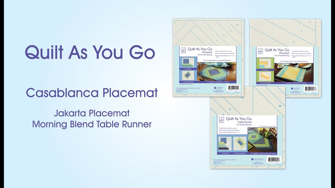 Quilt As You Go Placemats And Table Runner Youtube