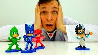ГЕРОИ в МАСКАХ у Доктора Ой! #КетБой и #Гекко заморожены злодеем Ромео! Видео игрушки Игра больница