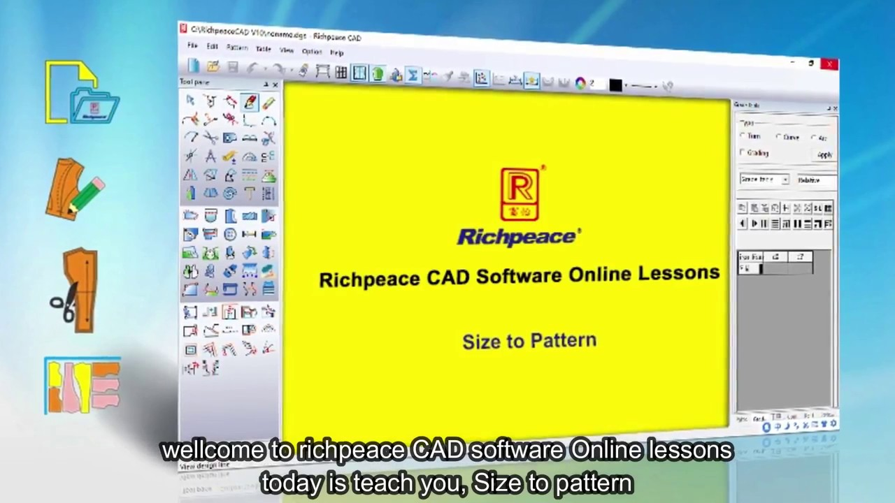 Richpeace Garment Cad Software Online Lessons Tip Of The Day Size To Pattern V9 Youtube