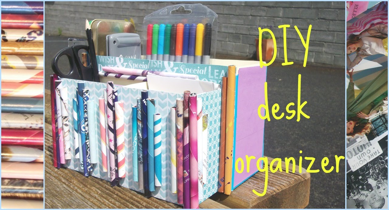 diy desk organizer youtube. Black Bedroom Furniture Sets. Home Design Ideas