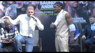 HILARIOUS!! - BILLY JOE SAUNDERS & DEMETRIUS ANDRADE RIP INTO EACH OTHER -  GO AT IT HARD IN BOSTON.