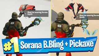 Find the Back Bling and Pickaxe hidden in Chaos Rising Loading wearing the Sorana Outfit - Fortnite