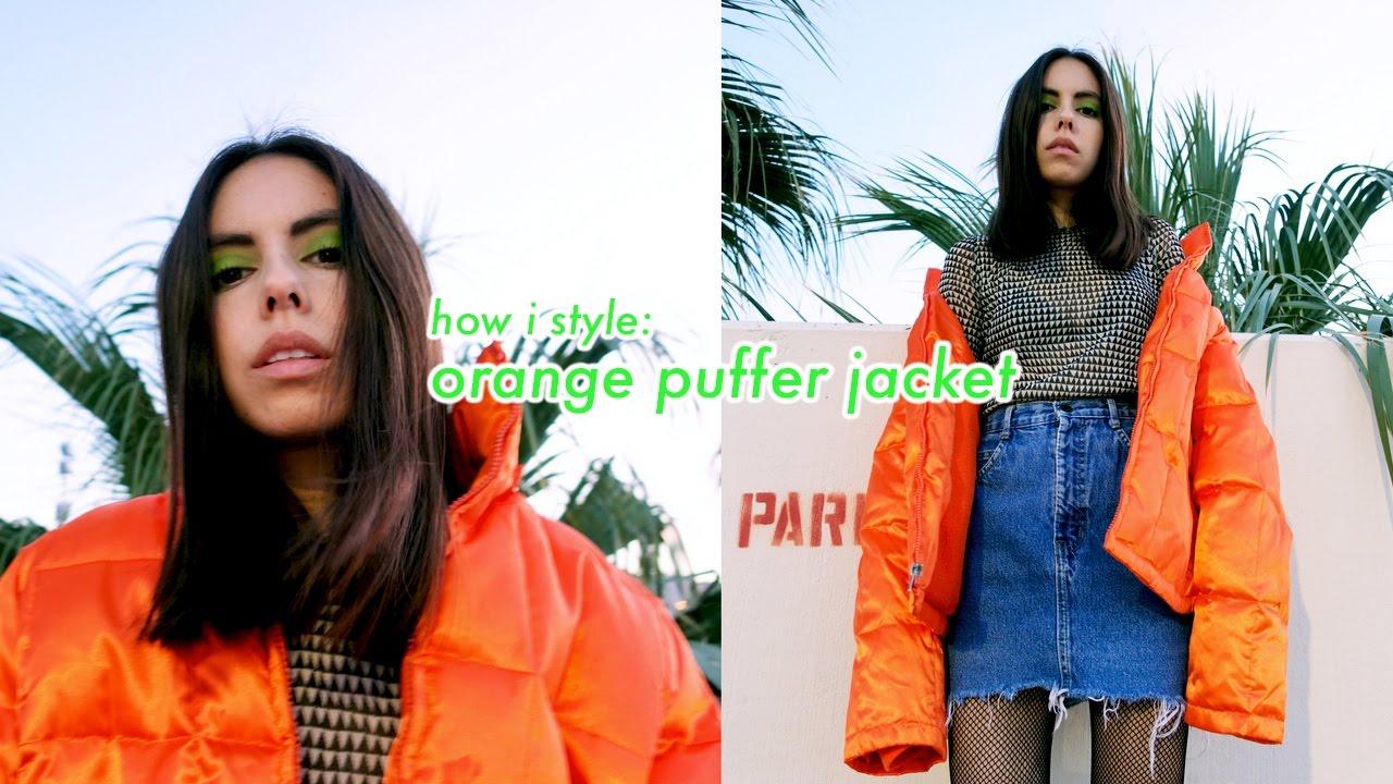 1314db47 ORANGE PUFFER JACKET | HOW TO STYLE - YouTube