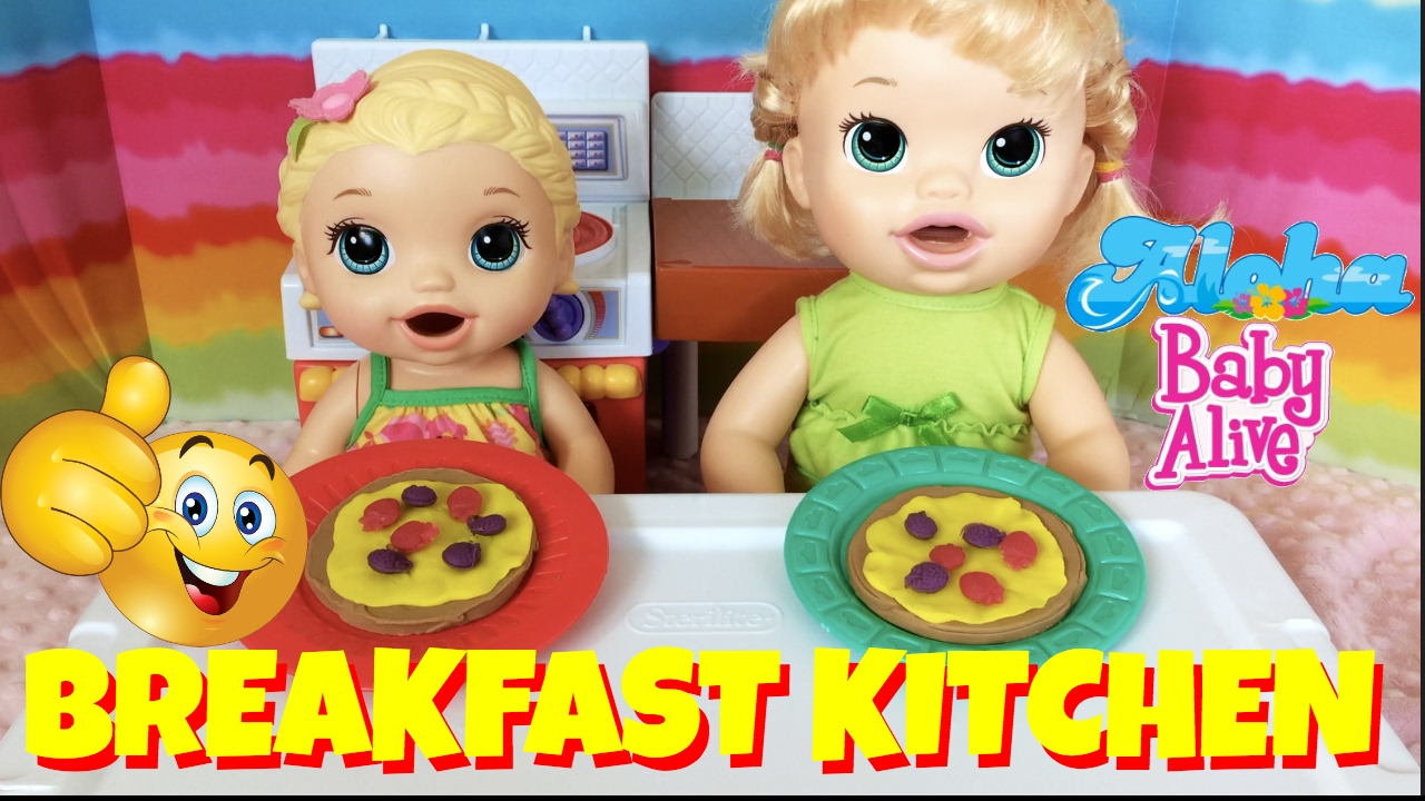 Play Doh Kitchen Set Unboxing With Baby Alive Kayla Lilly Yummy Breakfast For The Dolls Youtube