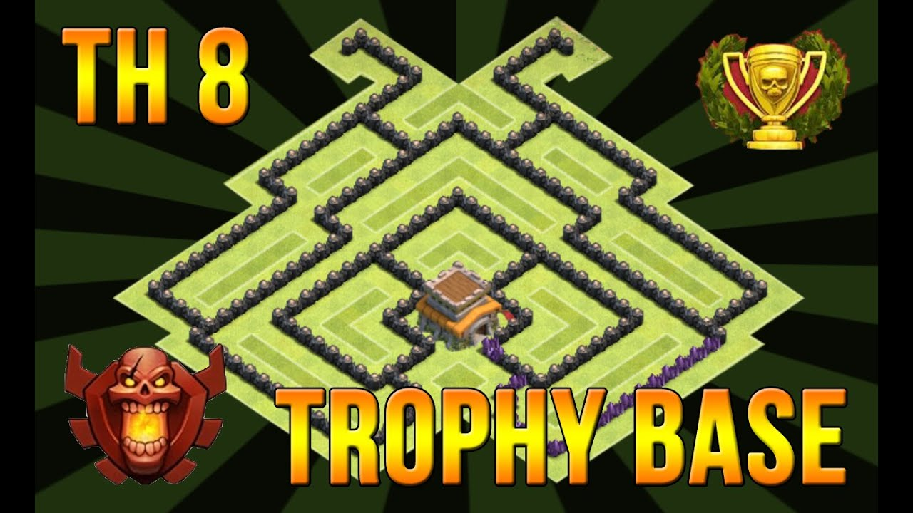 Clash of clans th8 trophy base air sweeper 4 mortars anti 2