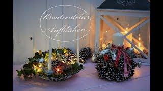 Zwei Weihnachtsdeko-Ideen mit der Stacheldrahtpflanze: Schneller Adventskranz und Zapfen-Gesteck