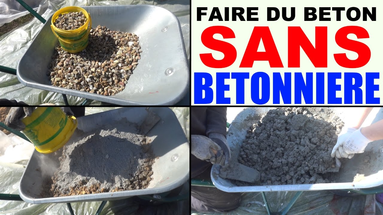 Faire du b ton sans b tonni re la main brouette mix cement without cement m - Comment faire du beton lisse ...