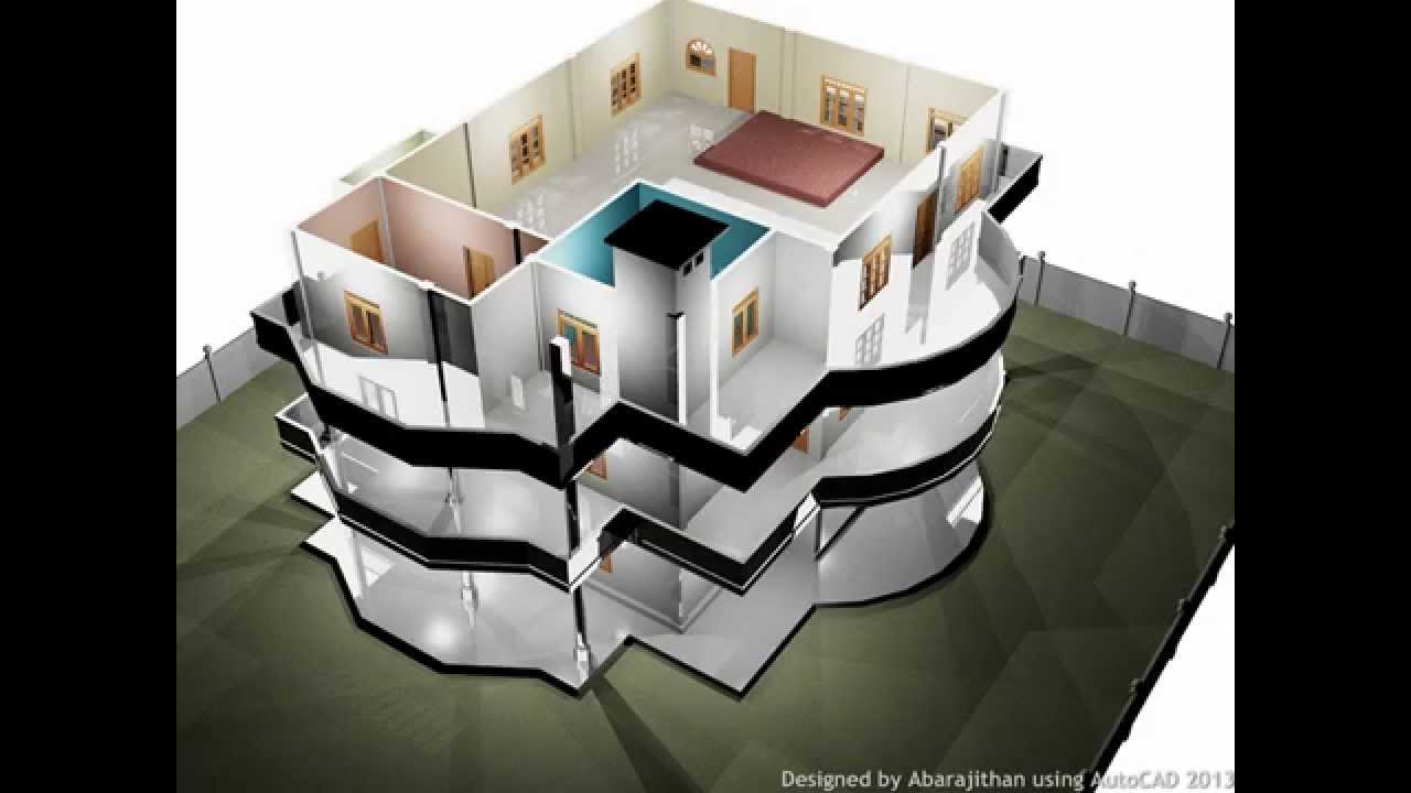 3 Storey House Autocad 3d Youtube