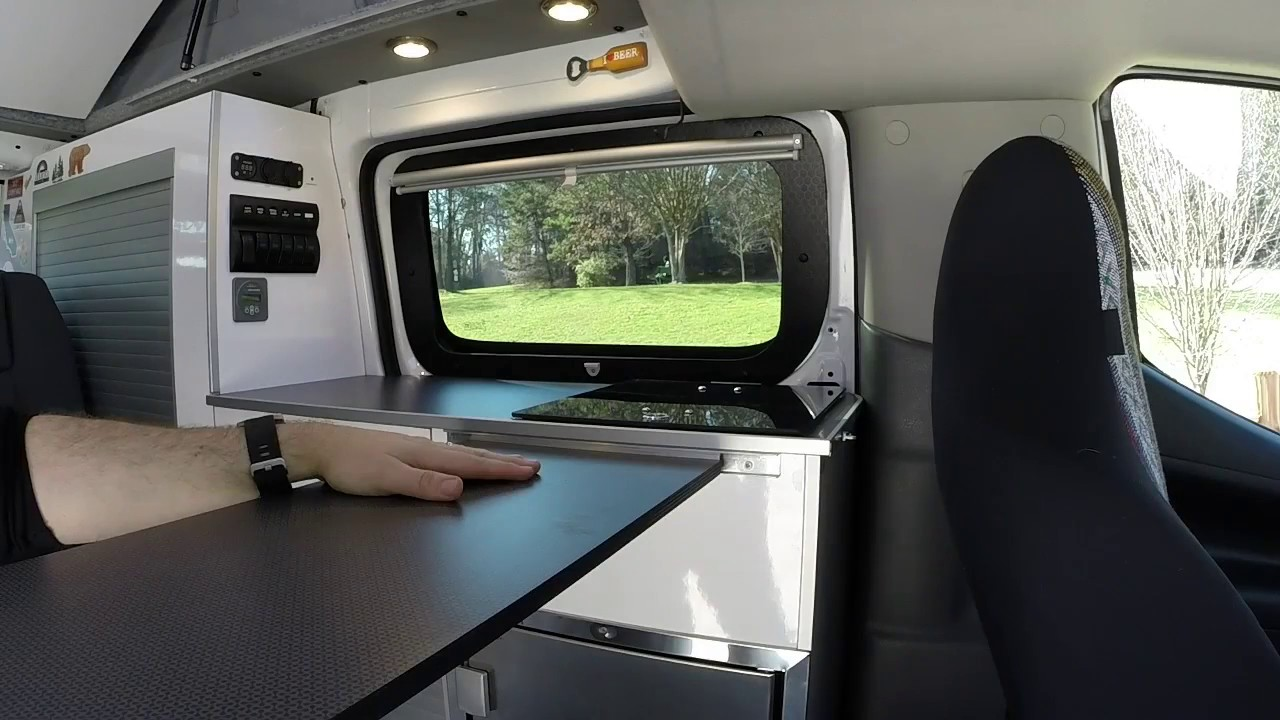 portable inside outside table recon campers nissan nv200. Black Bedroom Furniture Sets. Home Design Ideas
