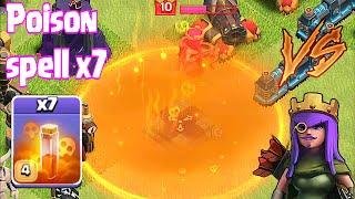 Clash Of Clans - POISON SPELL x7 Vs. Lvl 10 HERO (NEW SPELL UPDATE!!!)
