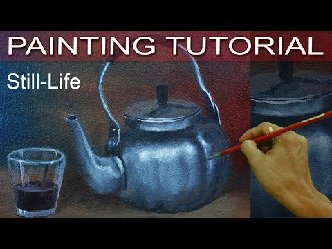 Still Life with a Silver Teapot and Glass Cup Acrylic Painting Tutorial by JM Lisondra